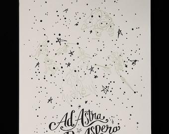 Ad Astra Per Aspera Letterpress Poster