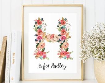 Letter H Print, Custom Girls Name Print, New Baby Gift, New Baby Print, Nursery Decor, New Baby Gift, Gift for toddler, Alphabet Print, Baby