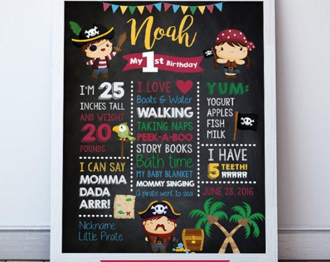 Pirate Birthday Party, Birthday Chalkboard Poster, Birthday Stats, Birthday Sign