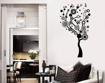 Abstract Tree Vinyl Wall Decal Circles Living Room Art Creative Idea Stickers Mural  (#2605di)