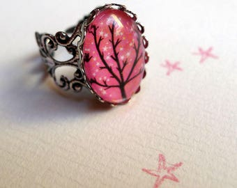 Vintage sparkling stars BA133 tree ring