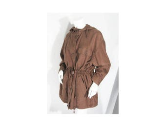 Marks & Spencer Jacket Coat Sz: 10-12 (US) 14 (UK) Brown Linen Cotton, Hood, Drawstring Waist, Combo Zipper Button Front, Vintage/Never Worn