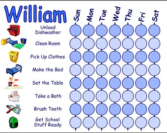 Childrens Chore Chart with Chore Pictures, Customizeable