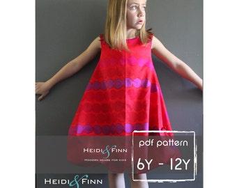 Patrón de vestido burbuja y pdf DIY tutorial 6Y-12Y patrón fácil coser