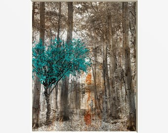 Genial Rustic Teal Brown Decor, Tree Forest Decor, Teal Tree, Brown Teal Home Decor