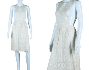 Antique Lace Apron Crochet Lace Dress Cover Up Lace Smock Scalloped Lace Tie Back