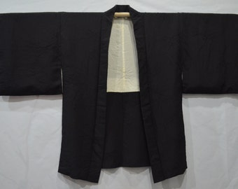 vintage Japanese Haori Cardigan Black One Crest Abstract Floral Leaves Woven Pattern Kimono Outer Jacket