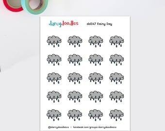 Rain storm stickers | rainy day stickers | weather stickers | doodle stickers | cute stickers | (DD347)
