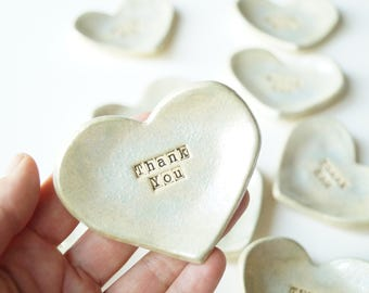 10x Wedding Favors, Ceramic Heart, Silver Favors, Set of 10, Ready to Ship