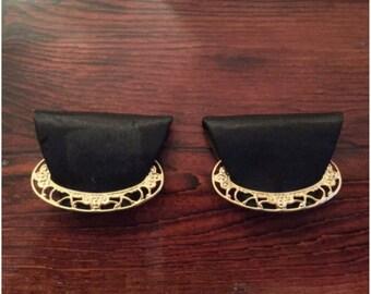 Vintage Shoe Clips Black and Goldtone