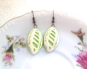 Ceramic Green Leaf Earrings. Woodland Treasures. Vines. Glazed Ceramic. Under 15. Vintage Style Brass Hooks. In the Garden. Gardening Lover
