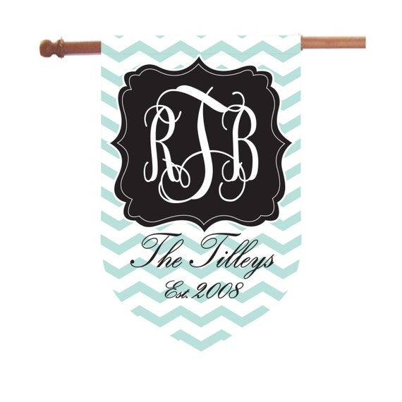 Monogrammed Chevron House Flag