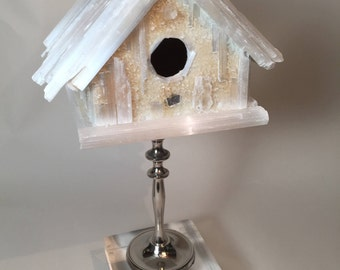 Crystal Birdhouse on Silver Pedestal