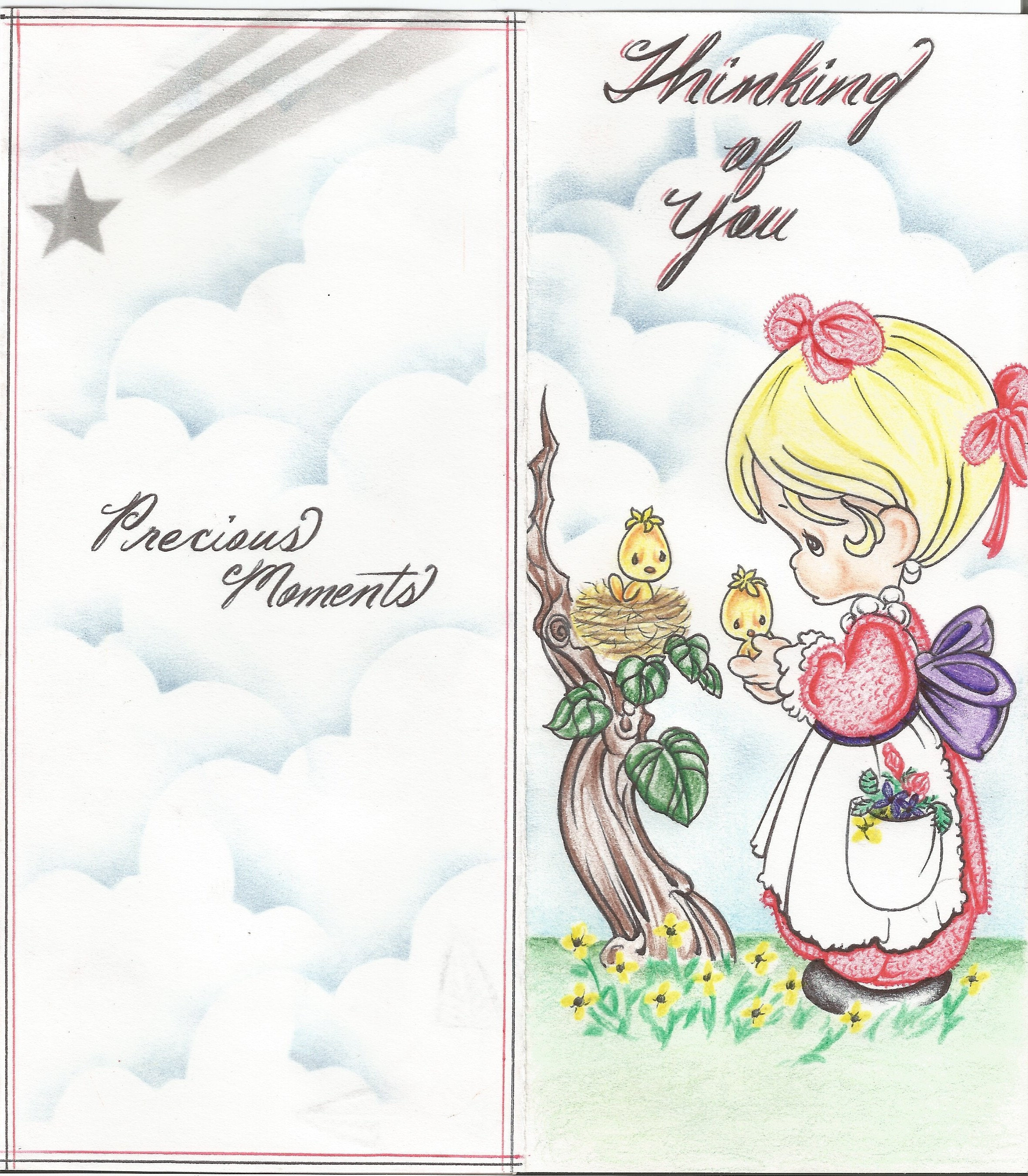 Precious Moments Handmade Tri Fold Greeting Card