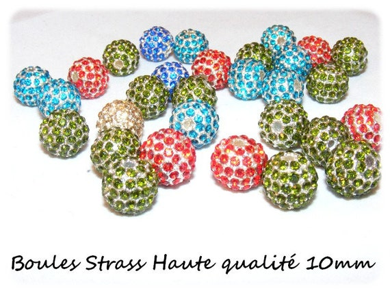 10 mm Metal beads & rhinestone [Olivine] x 1