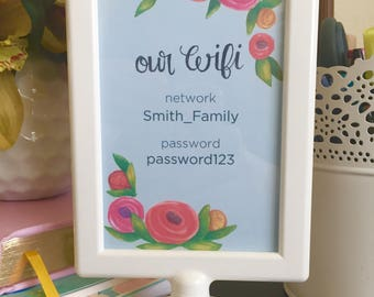 Framed Custom Wifi Network and Wifi Password | Handlettered 4x6 Print for Your Home |