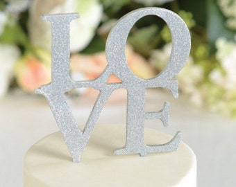 Wedding Cake Topper LOVE Wedding Cake Topper Silver Glitter Cake Topper Cake Topper Cake Wedding Topper LOVE Topper Cake Decoration