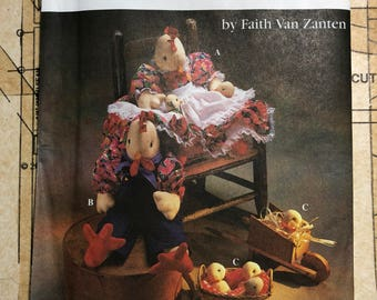 UNCUT Stuffed Animal Sewing Pattern Crafts Simplicity 8777 S8777 Chicken Baby Chicks Rooster Family Home Decor Decoration Doll Clothes