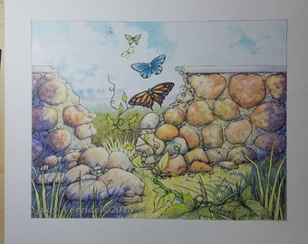 Escape - colored pencil and ink original drawing