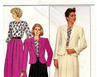 Vintage Butterick 4045 Womens  Long A-line Skirt, Long Sleeve Shirt and Blazer Jacket UNCUT Sewing Pattern Sizes 12 14 16 Bust 34 36 38 S M