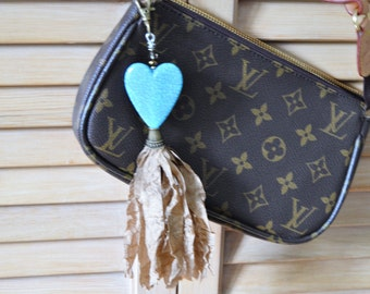 TURQUOISE HEART KEY Chain Purse Charm Light Brown Crinkle Ribbon Tassel Purse Charm