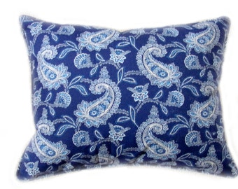 3 Decorator Pillows-Navy White Ralph Lauren Paisley Canvas
