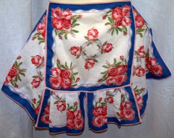 Vintage Hanky Apron Roses Pink Red