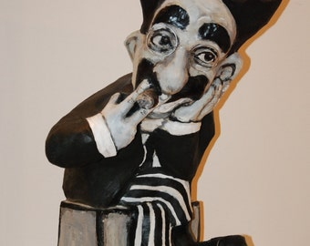Groucho Marx Sculpture, handmade figurine, cinema