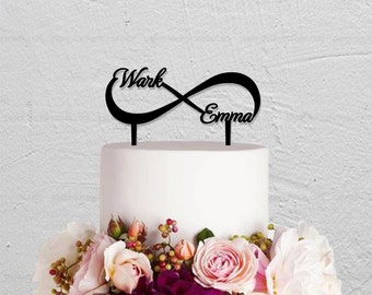 Wedding Cake Topper,Infinity Cake Topper With Two Names,Custom Cake Topper,Personalized Cake Topper,Love Cake Topper,Name Cake Topper
