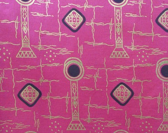 """Vintage 1970s African Fabric / RARE 70s Sotiba-Simpafric Super Gold Wax Print Cotton Yardage / 71"""" Inches / 46"""" Width"""