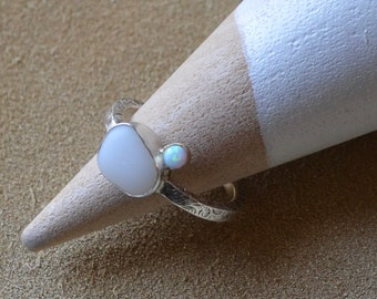 Sterling Silver Bezel Genuine Sea Glass Ring with Decorative Sterling Silver Band and Danity 14 k Gold Bezel Opal