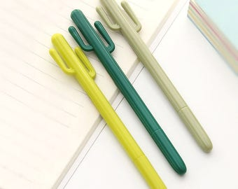 Cactus Gel Pen in Yellow, Green, Khaki, Ink color Black, 0.38mm, Planner Accessories, Kawaii Pens, Stationery, Gel Pens, Planner Goodies