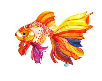 Gold fish- canvas art- fish art- wall art- wall decor- spirit animals- kids room decor- print from original- Fish painting- Painting