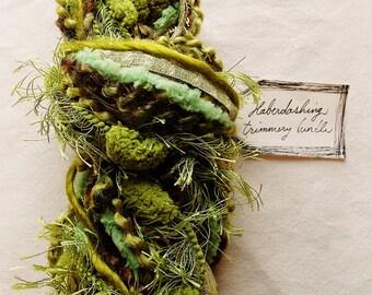 Pod People moss pastel green mix pom fringe trim Novelty Fiber Yarn Sampler Bundle