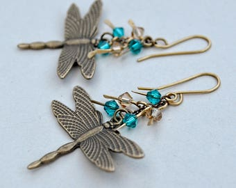 Summer Pond, Earrings of Antiqued Brass and Swarovski Crystals