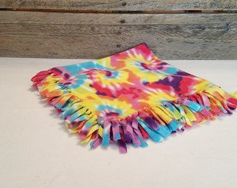 Soft and Cuddly Fringed Tie Dye Fleece Pet Blanket for Dogs or Cats, Pet Throw, Pet Gift, Pet Bedding