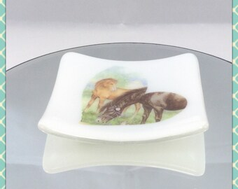 SALE, CLEARANCE, Fused Glass Trinket Dish, Horse detail, bowl, ring soap dish candle tea light holder- hand crafted by Minerva Hot Glass