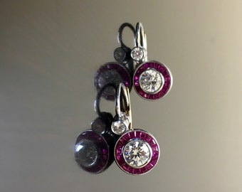 Platinum Art Deco Ruby Diamond Earrings - Art Deco Platinum Diamond Halo Ruby Earrings - Ruby Diamond Platinum Earrings - Ruby Halo Earrings