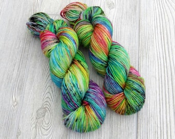 "Rainbow Kettle Dyed Sport Yarn with Black Speckles ""Whole Lotta Love"""