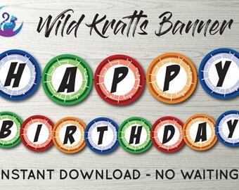 Wild Kratts Banner, Wild Kratts Bunting Banner, Wild Kratts Party Decoration, Wild Kratts Birthday Party Banner, Wild Kratts Creature Discs