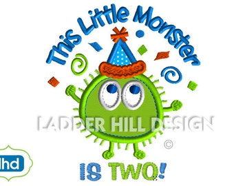 Ooga Booga Monster -- This Little Monster is Two Applique Embroidery Design OBBI001-2