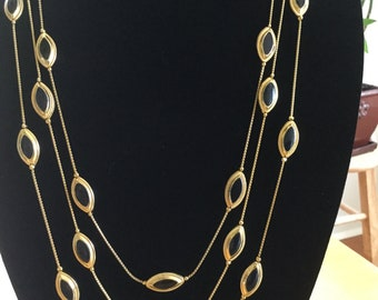 """Vintage Gold Tone Necklace With Black Stones, Three Strand Gold Tone 29"""" Necklace, Vintage Costume Jewelry, Fashion Unique Jewelry, Gift"""