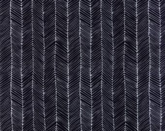Fabric by the Yard -- Catnip - Kitten Lines in Black by Gingiber for Moda