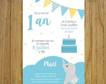 Invitation card birthday elephant