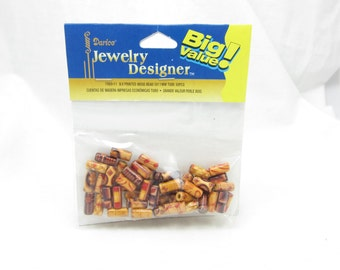 Darice Wood Beads Big Value Pack 1980-11 5 x 11MM Tube Pieces Charms 50 Pieces a Pack Jewelry Craft Making Supplies Gold Upcycle