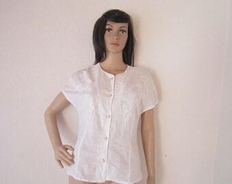 Vintage 80s blouse vlecht blouse met kant katoen S / m