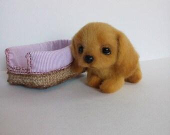 Spaniel puppy.Puppy.Dog.Felted dog.Felted toy.Puppy dog.Miniature animals.Orange.Brown.Felting.Needle felted