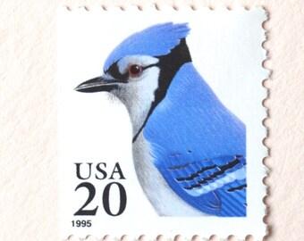 10 Unused Blue Jay Stamps 20 cent Vintage Blue Bird Postage Stamps
