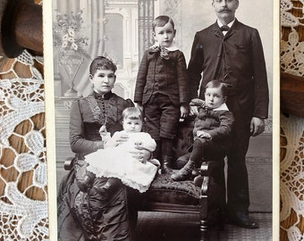 Family Portrait  - Antique Cabinet Card Niagara Falls New York