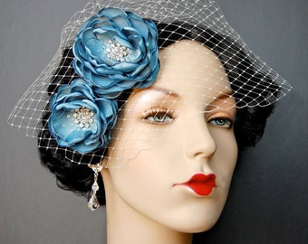 Wedding Hair Flowers, Bridal Sash Flowers, Wedding Headpiece, Sash Accessories - Brooch 2 Piece Set - Sea Foam Blooms